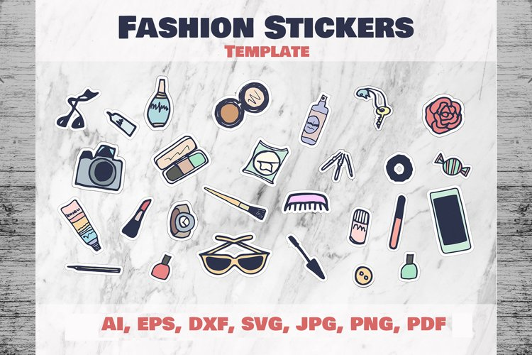 Fashion Stickers and Cliparts Vector SVG PNG example image 1