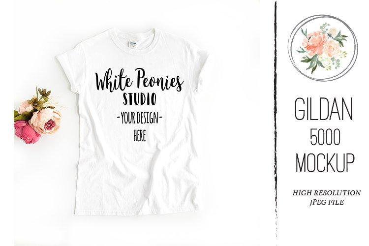 White GILDAN 5000 Shirt Mockup with flowers example image 1