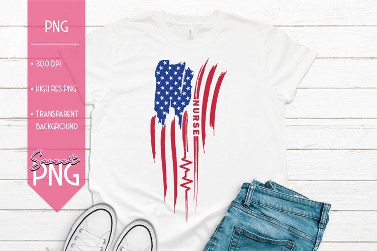Heartbeat of America Nurse Flag SVG example image 1