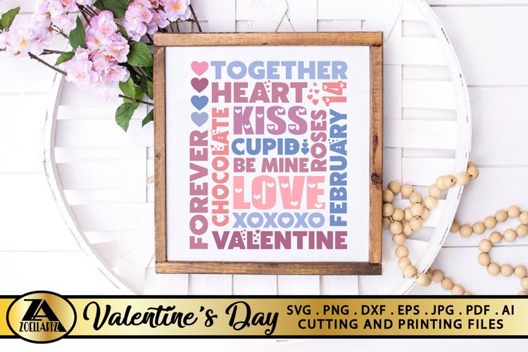 Valentines day SVG Valentine Sign SVG Valentine Subway Art example