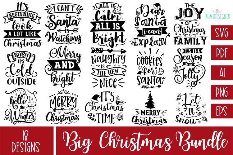 The Big Christmas Bundle Svg Cut File example image 1