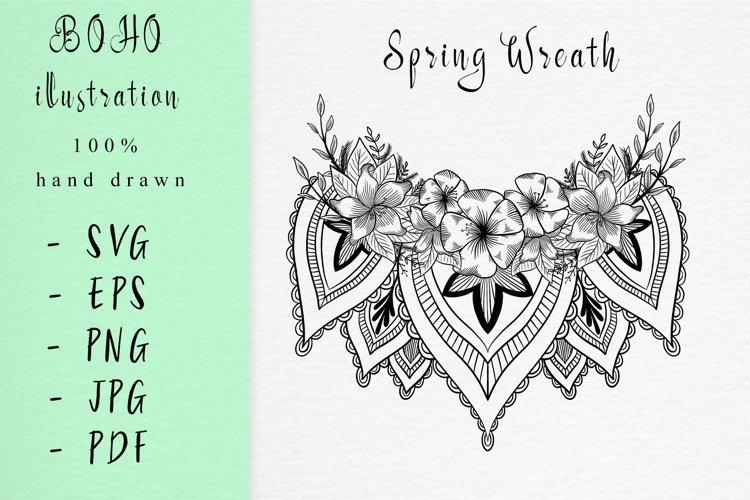Boho illustration /Spring wreath example image 1