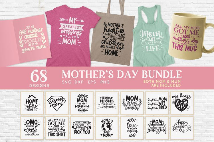 Mothers Day svg bundle png eps dxf - mom life svg mama svg example image 1