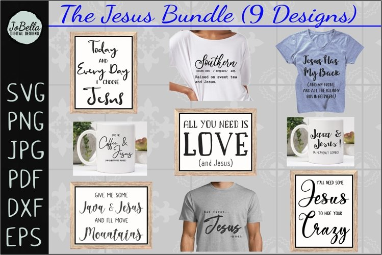 The Jesus SVG Bundle, Sublimation PNGs, and Printables