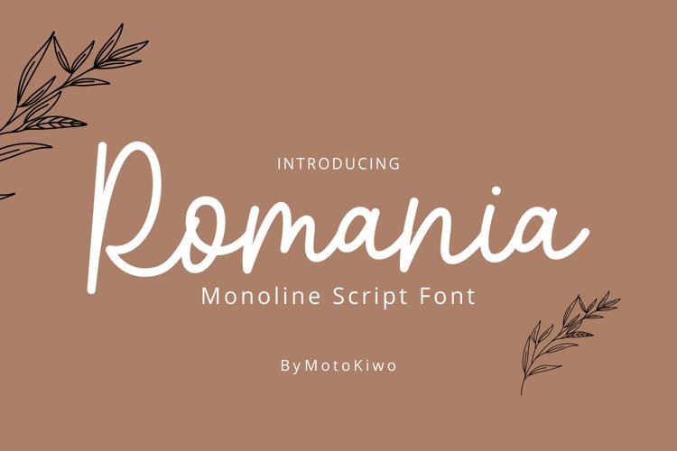Romania, monoline script font