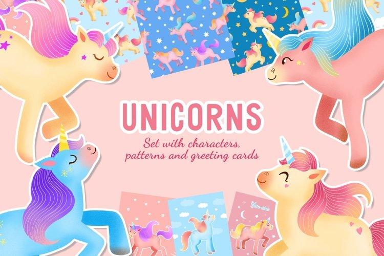 Unicorns clipart, cartoon unicorn set with pattern and cards