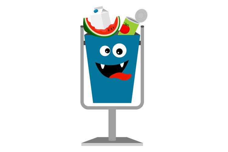 Garbage monster can with organic waste example image 1