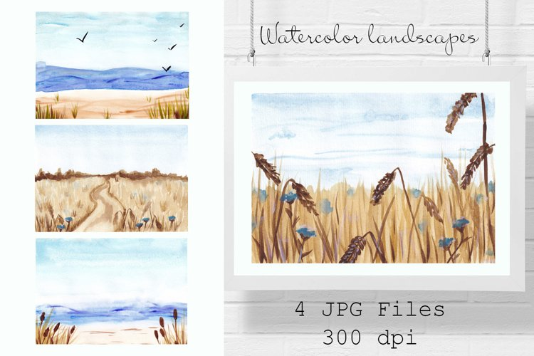 Watercolor landscape blurred backgrounds, Fields, Hay, Sea