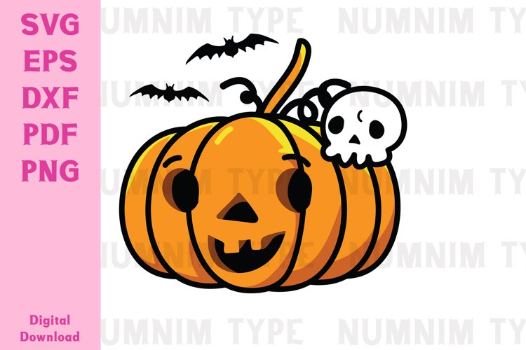 Halloween Pumpkin, Skull Bone and Bat SVG cut files example image 1