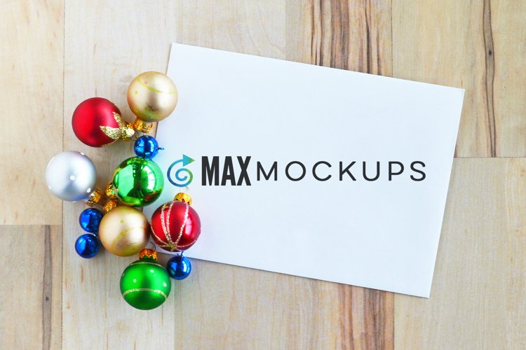 Envelope Mockup, Christmas ornaments, stickers or stamps