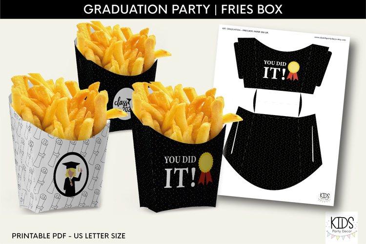 Girl Graduation party fries box, graduate printable decor example image 1