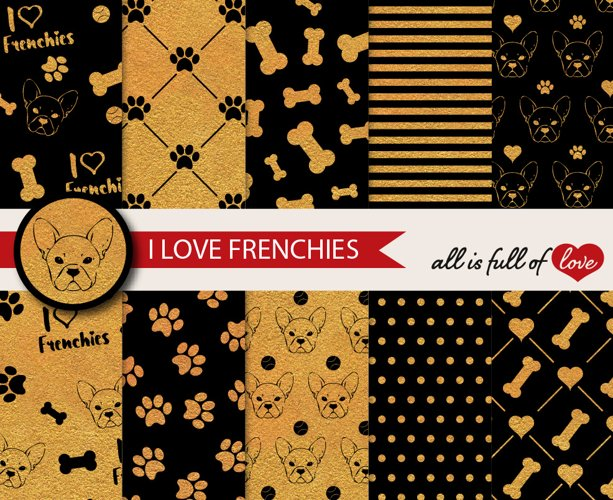 I Love Frenchies Digital Paper French Bulldog Background Patterns in Gold and Black example image 1