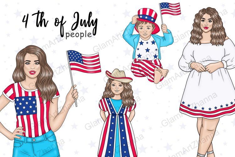 4th of July PEOPLE Independence Day Stickers - PNG files example image 1