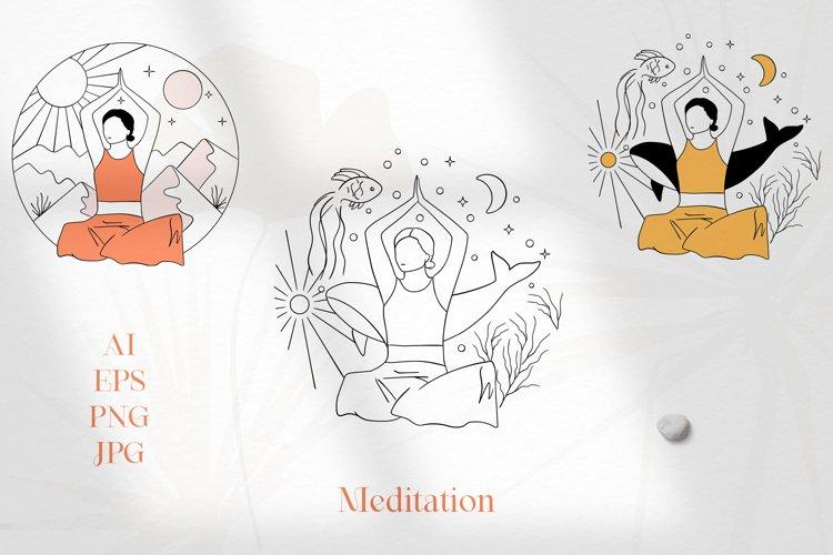 Meditation abstract vector illustrations