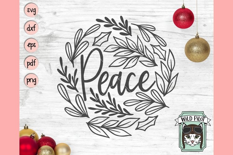 Christmas SVG File, Peace SVG, Round Christmas Sign SVG File