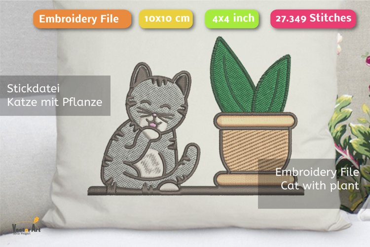 Cleaning Cat with Succulent - Embroidery File - 4x4 inch example image 1