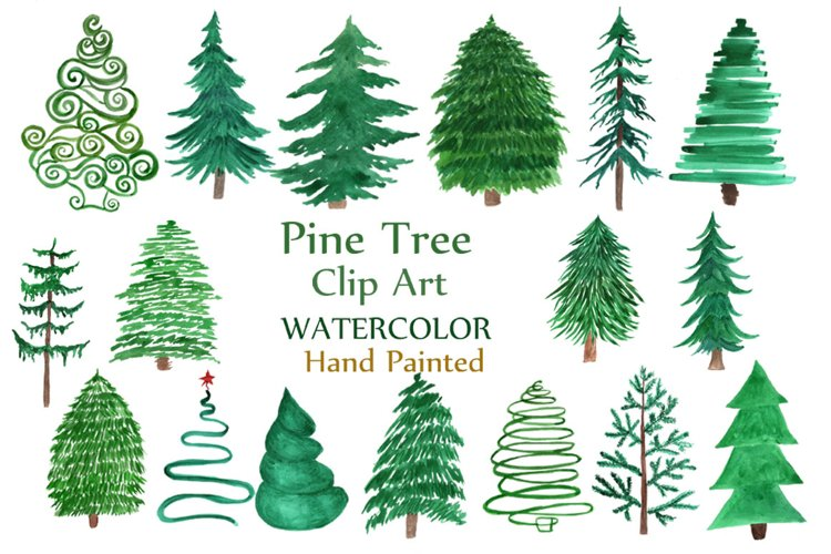 Watercolor Pine Trees Clipart example image 1