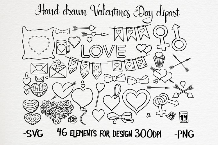 Hand drawn valentines black and white clipart set example image 1
