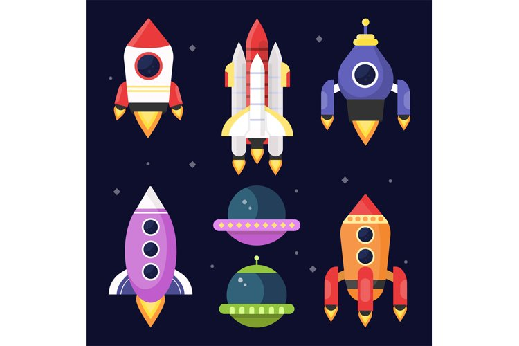 Illustrations of space with shuttles. Vector pictures example image 1