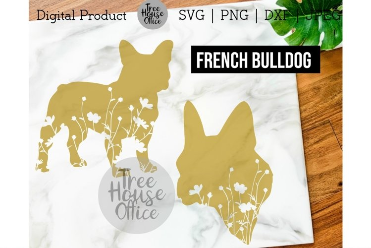 French Bulldog Floral SVG, Cute Frenchie Bulldog Dog Flowers example image 1