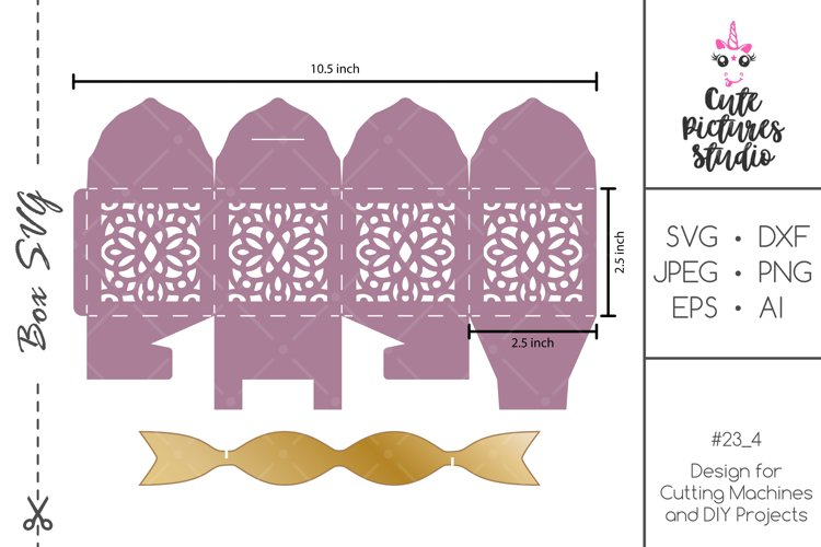 Wedding Favor Box SVG Cricut Template, Wedding gift box example image 1