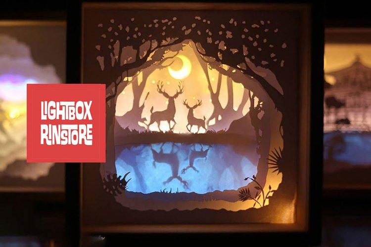 #17 Deer Spirit, 3D Shadow box paper cut lightbox example image 1