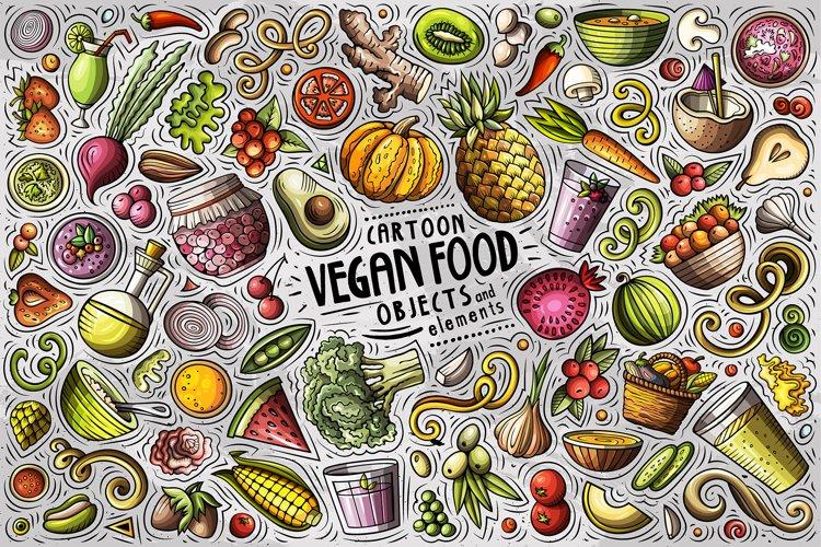 Vegan Food Cartoon Objects Set example image 1