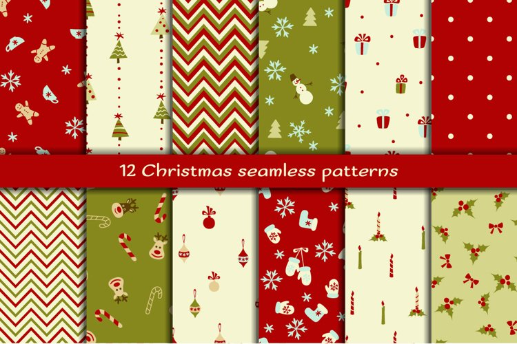 Set of 12 Christmas seamless patterns example image 1