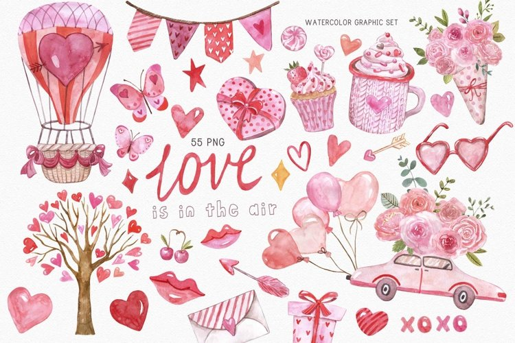 Cute Valentines Day Clipart Watercolor Graphic Set