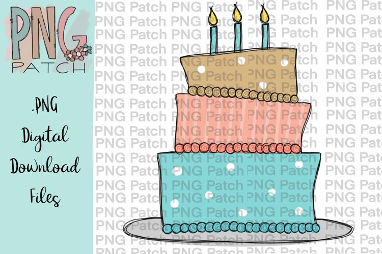 Whimsical Birthday Cake with Candles, Birthday PNG File