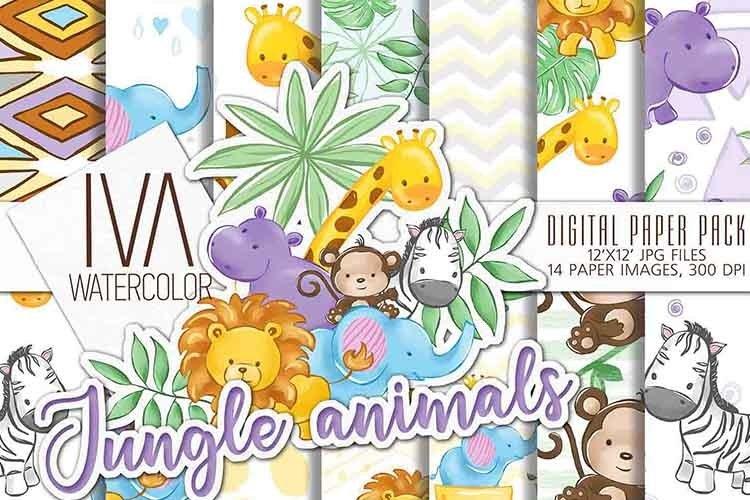 Baby Animals digital paper, Zoo Jungle animals digital paper example image 1