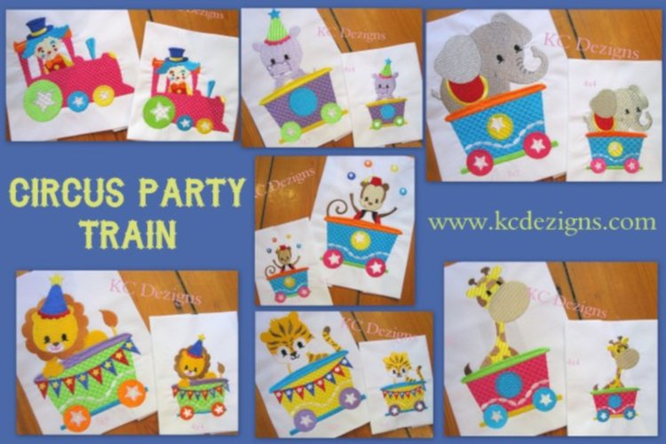 Circus Train Machine Embroidery Design