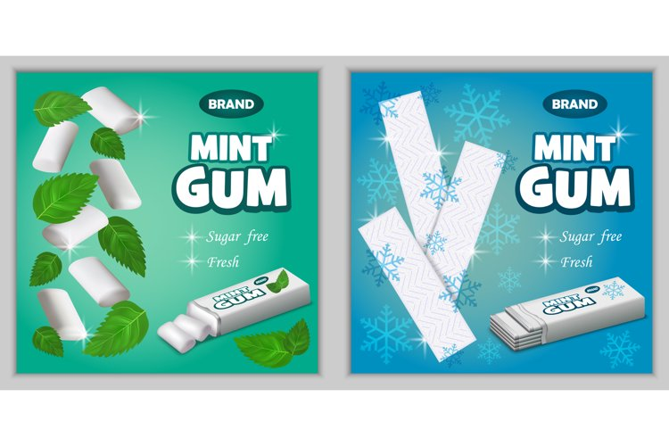 Gum chewing bubble banner set, realistic style example image 1