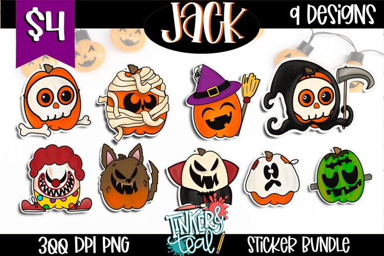 Fall Halloween Sticker Bundle - Sticker Bundle - Pumpkin PNG