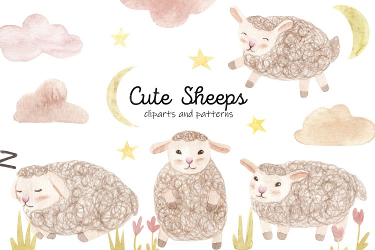 Cute Watercolor Sheeps. Seamless Patterns and Cliparts example image 1