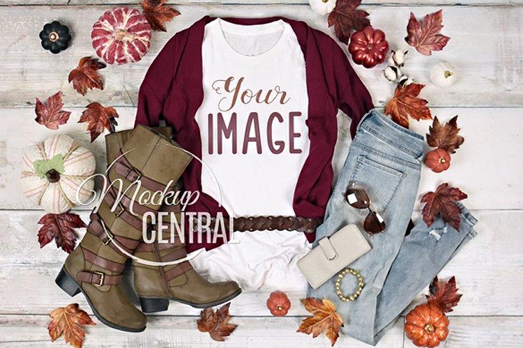 Fall T-Shirt Mockup, Women's Apparel Styled White Shirt, JPG example image 1