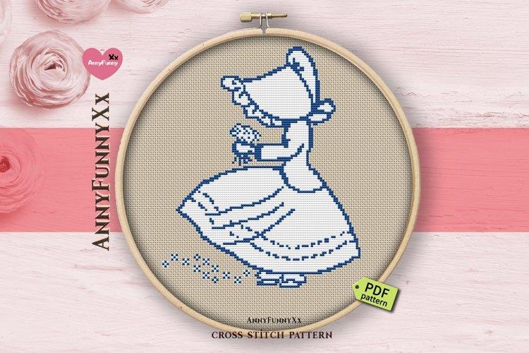 Bonnet cross stitch pattern PDF, Sue bonnet girl