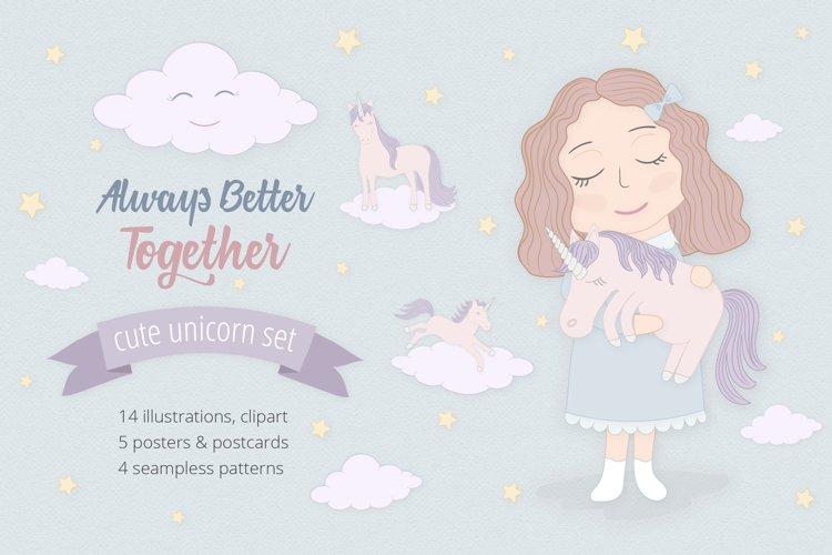 Cute Funny Unicorn Illustration Set - Free Design of The Week Font