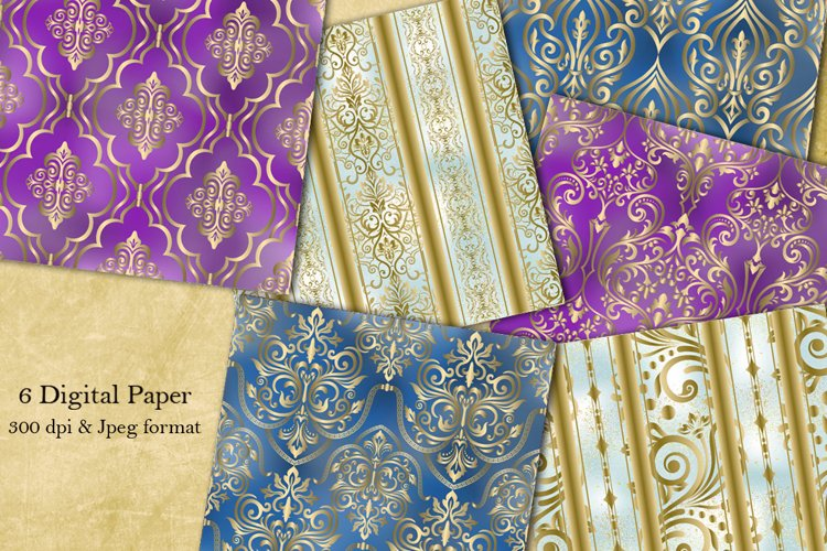 Digital Paper. Collection of 6 seamless damask patterns. example image 1