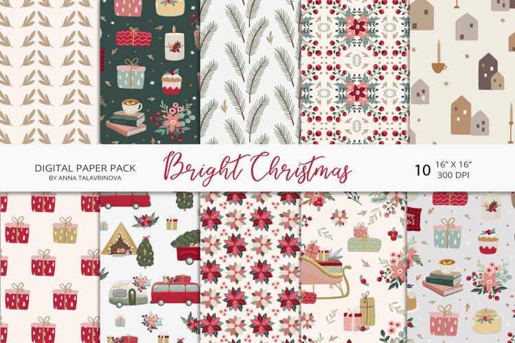 Bright Christmas digital paper, christmas seamless pattern