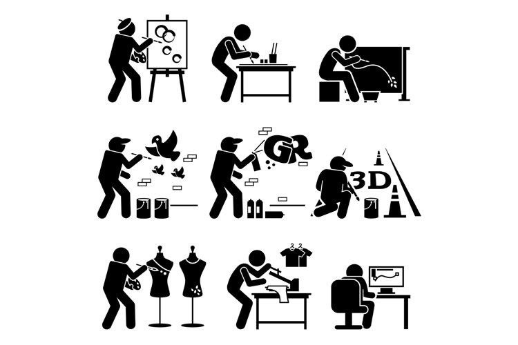 Painter Street Artist Graphic Designer Drawing Arts Icons example image 1