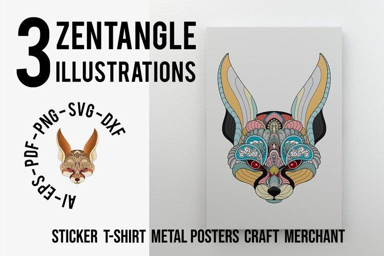 Zentangle Stylized Fennec Fox Head example image 1