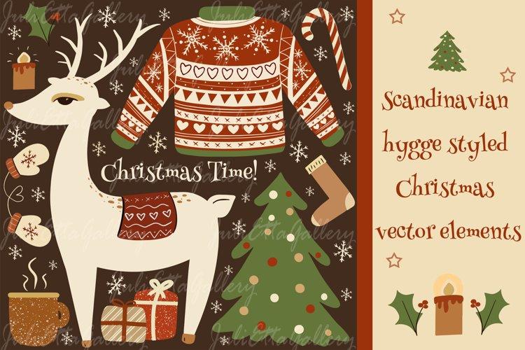 Scandinavian hygge styled Christmas vector elements