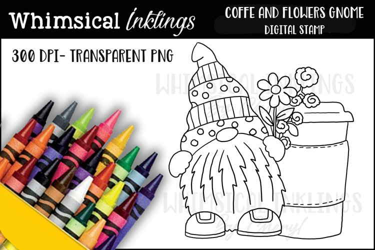 Coffee And Flowers Gnome Digital Stamp