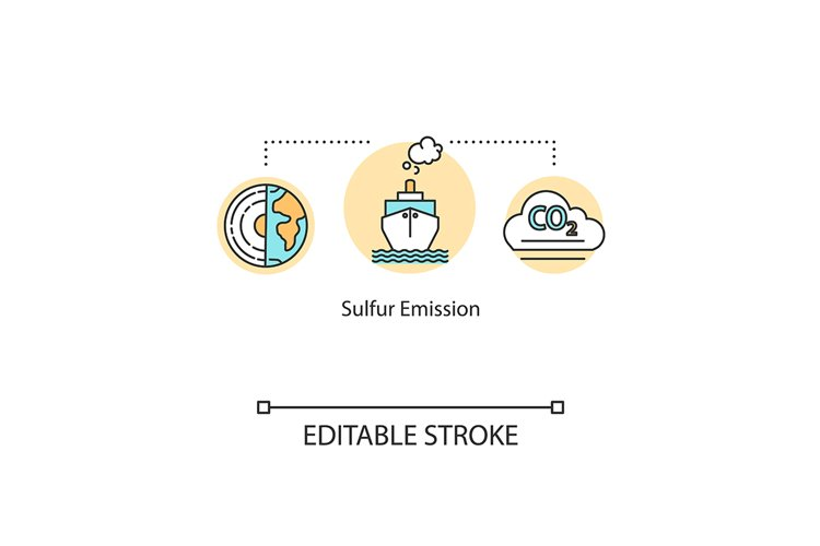 Sulfur emission concept icon. Smoke from ship pipes example image 1