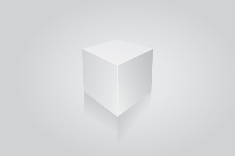 Blank white cube on white background. 3d box template example image 1