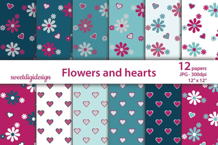 Small hearts and flowers digital paper example image 1