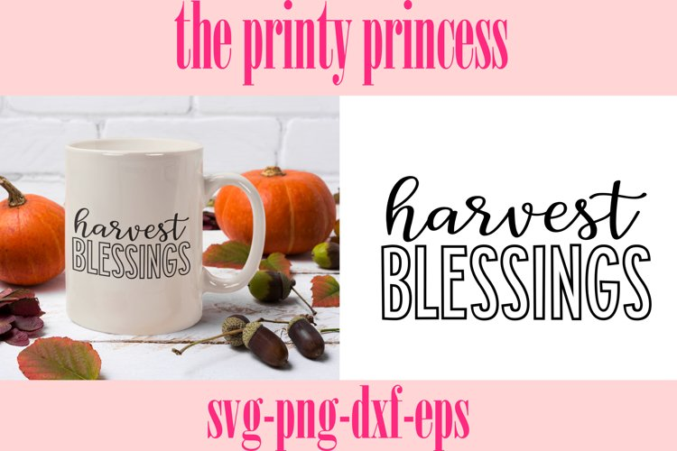 Harvest Blessings svg, Fall cutting file, Fall png example image 1