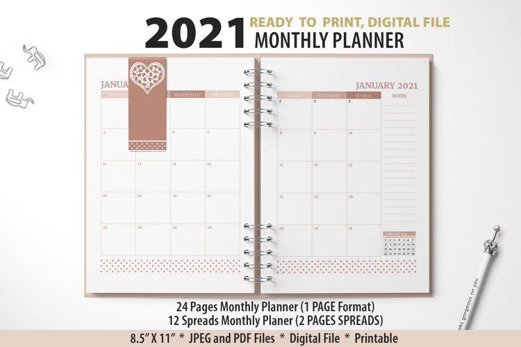 2021 Monthly Planner Style 1 example