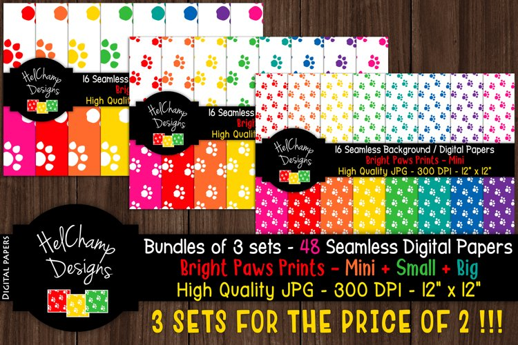 48 seamless Digital Papers - Paws Print Bright serie - DB007